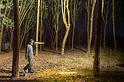 """15 DECEMBER 2014 - CHUM SAENG, RAYONG, THAILAND: WIN, a laborer on a large rubber plantation in eastern Thailand, walks between rubber trees while tapping them. Rubber trees are tapped at night and the latex collected from the base of each tree in the morning. Thailand is the second leading rubber exporter in the world. In the last two years, the price paid to rubber farmers has plunged from approximately 190 Baht per kilo (about $6.10 US) to 45 Baht per kilo (about $1.20 US). It costs about 65 Baht per kilo to produce rubber ($2.05 US). Prices have plunged 5 percent since September, when rubber was about 52Baht per kilo. Some rubber farmers have taken jobs in the construction trade or in Bangkok to provide for their families during the slump. The Thai government recently announced a """"Rubber Fund"""" to assist small farm owners but said prices won't rebound until production is cut and world demand for rubber picks up.        PHOTO BY JACK KURTZ"""