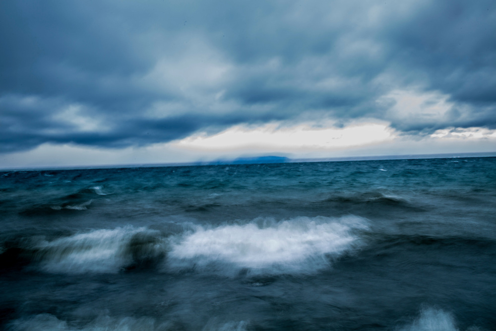 Waves churn in Lake Baikal as a storm moves in on Sunday, October 20, 2013 in Baikalsk, Russia.