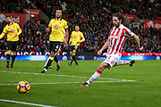 Stoke City midfielder Joe Allen (4) can't keep the ball in  during the Premier League match between Stoke City and Watford at the Britannia Stadium, Stoke-on-Trent, England on 3 January 2017. Photo by Simon Davies.