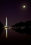 Moonrise over the reflecting pool, Washington, DC