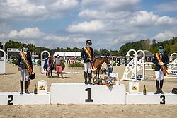 Podium BK ponies, Thijskens Laure, Van Dijkc Jonas, Mees Frederik, <br /> Belgisch Kampioenschap Jeugd Azelhof - Lier 2020<br /> © Hippo Foto - Dirk Caremans<br />  02/08/2020