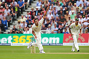 Mitchell Starc bowling during 2nd day of the Investec Ashes Test match between England and Australia at Trent Bridge, Nottingham, United Kingdom on 7 August 2015. Photo by Shane Healey.