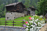 Aosta Valley/Italy-View of traditional wooden and stones village.