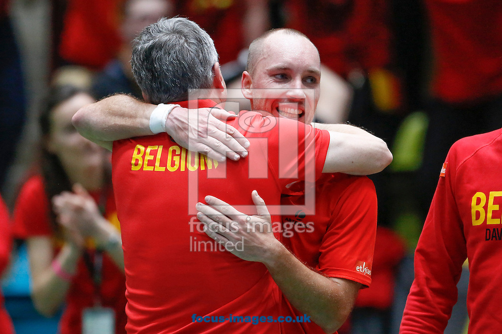 Steve Darcis of Belgium and team mates celebrate after beating Alexander Zverev of Germany to make their score three rubbers to one during the world group first round 2017 Davis Cup match between Germany and Belgium in the Fraport Arena, Frankfurt, Germany.<br /> Picture by EXPA Pictures/Focus Images Ltd 07814482222<br /> 05/02/2017<br /> *** UK &amp; IRELAND ONLY ***<br /> <br /> EXPA-EIB-170205-0231.jpg