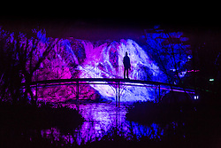 "© Licensed to London News Pictures 25/11/2016, Woodstock, UK. The gardens of Blenheim Palace are lit up with festive lights for the christmas season inclduing the illuminated ""Cascade"" waterfall. Photo Credit : Stephen Shepherd/LNP"