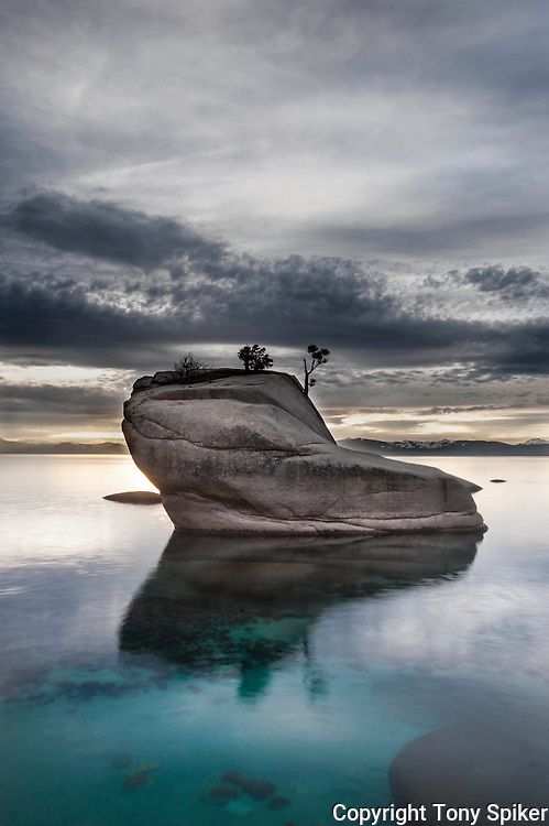 """Bonsai Rock Sunset 5"" - A landscape photograph of a clearing storm at sunset over Lake Tahoe taken at Bonsai Rock"