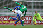 Adam Idah of Republic of Ireland (9) shoots for goal during the UEFA European Under 17 Championship 2018 match between Bosnia and Republic of Ireland at Stadion Bilino Polje, Zenica, Bosnia and Herzegovina on 11 May 2018. Picture by Mick Haynes.