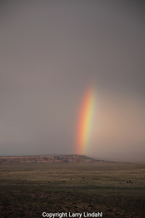 Hopi Indain Reservation, rainbow over First Mesa, monsoon rain storm in summer