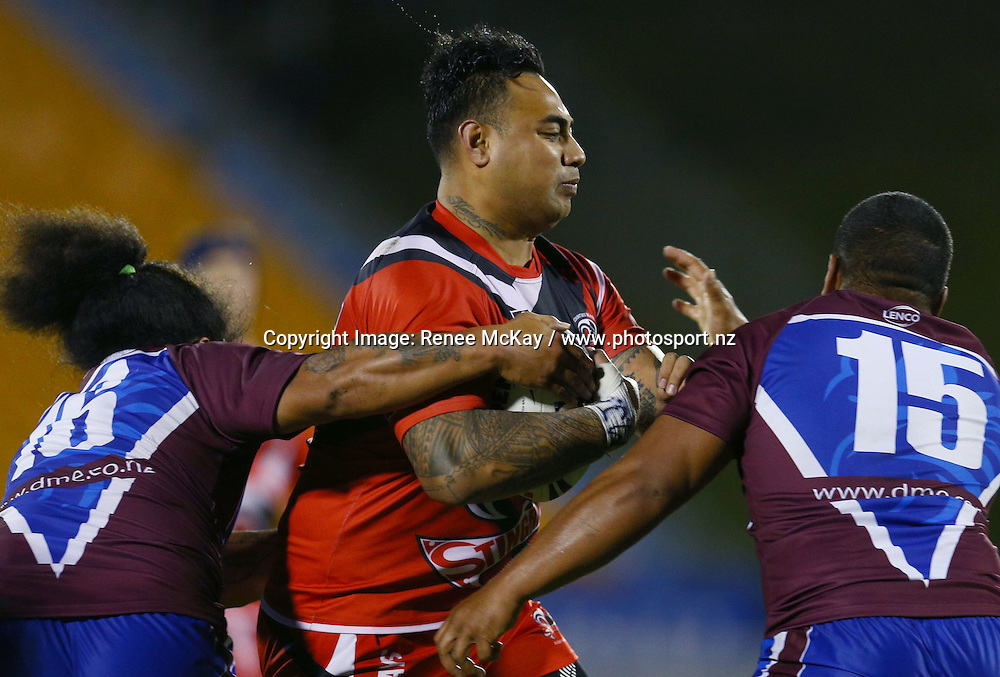 Saipani Aiolupo of Counties on the charge at the NZRL national premiership match between Akarana Falcons vs Counties Manukau Stingrays, at Mt Smart stadium, Auckland, 16 September 2016. Copyright Image: Renee McKay / www.photosport.nz