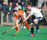 ROTTERDAM -   Olivier van Tongeren  (Neth)  with Benjamin Nicholson (Eng)  . Practice Match  Hockey : Netherlands Boys U16  v England U16 . COPYRIGHT KOEN SUYK