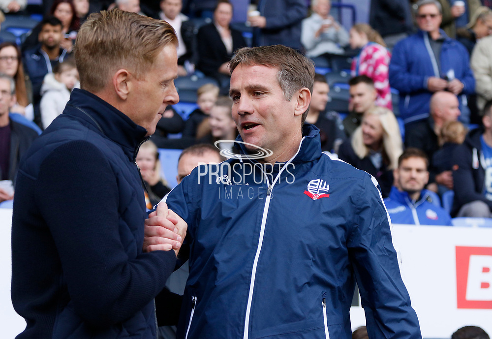Gary Monk Manager of Middlesbrough and Phil Parkinson Manager of Bolton Wanderers during the EFL Sky Bet Championship match between Bolton Wanderers and Middlesbrough at the Macron Stadium, Bolton, England on 9 September 2017. Photo by Paul Thompson.