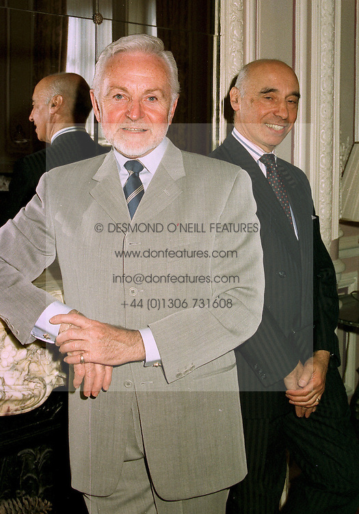 Left to right, Milliner FREDERICK FOX and his good friend MR MURRAY ARBEID at a luncheon in London on 28th May 1997.LYU 21