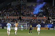 5/22/15- NYCFC supporters celebrate a home goal during a NYCFC match played at Yankee Stadium in the south Bronx.