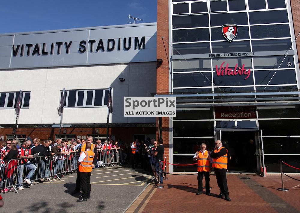 "Bournemouth's ""Vitality Stadium"" / Dean Court before Bournemouth vs Sunderland on Saturday 19th September 2015."
