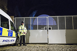 © Licensed to London News Pictures . 30/12/2013 . Manchester , UK . Police guard an access route to the scene believed to be where Adam Pickup's body has been discovered , overlooking the Bridgewater Canal near to Deansgate Train Station in Manchester City Centre . The search for 17 year old Adam Pickup who was last seen in the early hours of Saturday 28th December . Photo credit : Joel Goodman/LNP