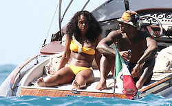 """EXCLUSIVE: Memphis Depay and fiancee Lori Harvey enjoying a trip on Dolce & Gabbana's boat """"Vergine Maria"""". 13 Aug 2017 Pictured: Lori Harvey, Memphis Depay. Photo credit: Ceres / MEGA TheMegaAgency.com +1 888 505 6342"""
