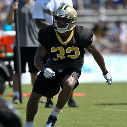 July 31, 2011; Metairie, LA, USA; New Orleans Saints rookie cornerback Johnny Patrick (32) during training camp practice at the New Orleans Saints practice facility. Mandatory Credit: Derick E. Hingle