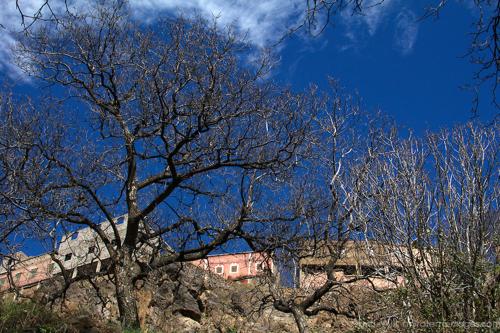 Africa, Morocco, Imlil. Imlil Berber Village and trees.