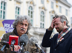 15.04.2014, Ballhausplatz, Wien, AUT, Europa Anders, Pressekonferenz zum Thema: Nachster Schritt des Protests fuer einen Hypo-Haftungsboykott vor dem Bundeskanzleramt. im Bild v.l.n.r. KPOe-Chef Mirko Messner und Europa anders Spitzenkandidat zur EU-Wahl und Europaabgeordneter Martin Ehrenhauser // f.l.t.r. KPOe Chief Mirko Messner and Europa anders Topcandidate for EU-Election and MEP Martin Ehrenhauser during press conference about further protest actions of Europa anders at Ballhausplatz in Vienna, Austria on 2014/04/15. EXPA Pictures © 2014, PhotoCredit: EXPA/ Michael Gruber