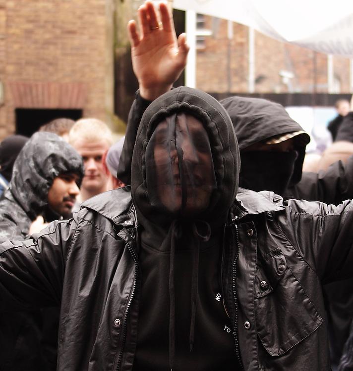 EDL hoodies demonstrate at Stoke, UK 23/1/10