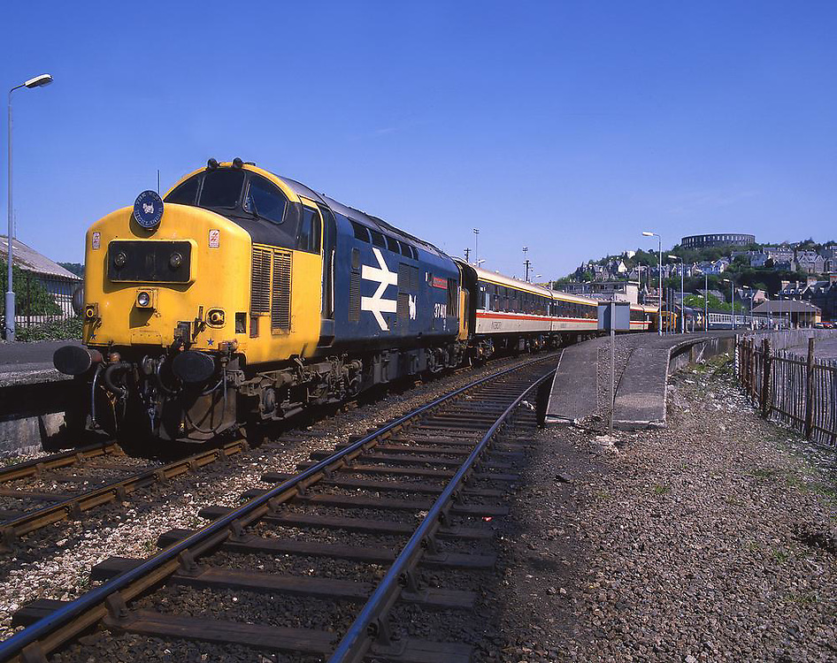BR Class 37 'Mary Queen of Scots' at Oban Station late 1980's early 1990's.