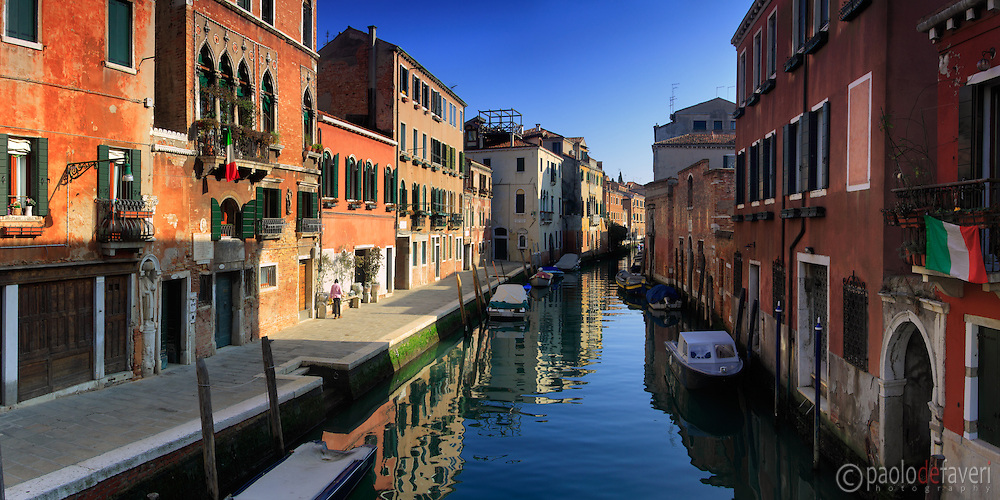 A view of Rio de la Sensa, a canal in the sestiere of Cannaregio in Venice, Italy, with the house of the famous painter Tintoretto on the left. Taken on a beautiful, clear day of mid Janauary, this is stitched from six vertical frames.