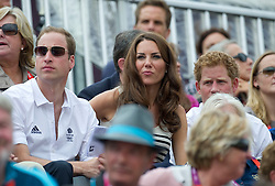 Duke and Duchess of Cambridge watching  Team GB competing in the show jumping at the London 2012 Olympics , Tuesday 31st July 2012 Photo by: i-Images