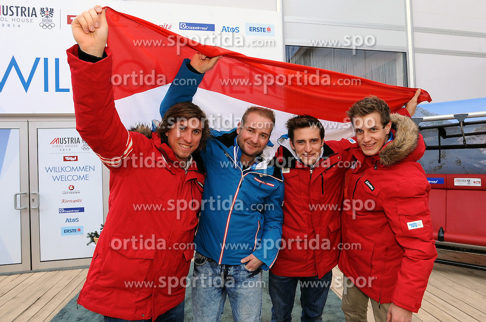 12.02.2014, Austria Tirol House, Krasnaya Polyana, RUS, Sochi, 2014, im Bild das Super G cl Max Franz, Georg Streitberger, Matthias Mayer, Otmar Striedinger // das Super G cl Max Franz, Georg Streitberger, Matthias Mayer, Otmar Striedinger during the Olympic Winter Games Sochi 2014 at the Austria Tirol House in Krasnaya Polyana, Russia on 2014/02/12. EXPA Pictures © 2014, PhotoCredit: EXPA/ OeOC/ Erich Spiess