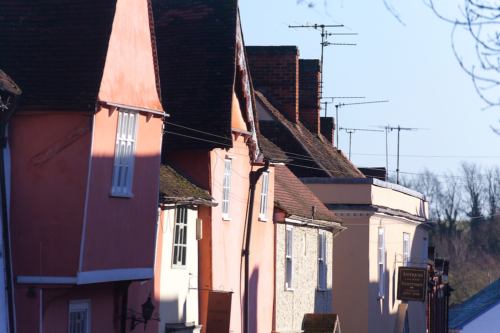 Angled medieval gables on Water Street in Lavenham