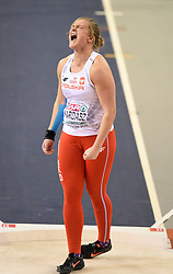 Poland's Klaudia Kardasz shouts out after her throw in the Women's Shot Put final during day three of the European Indoor Athletics Championships at the Emirates Arena, Glasgow.