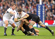 © Andrew Fosker / Seconds Left Images 2010 - England's Ben Foden is tackled by New Zealand's Kieran Read as England's Dylan Hartley is left  England v New Zealand All Blacks - Investec Challenge Series - 06/11/2010 - Twickenham Stadium  - London - All rights reserved..