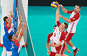 Poland, Warsaw - 2017 August 24: (R) Lukasz Wisniewski from Poland spikes against (left) Nemanja Petric from Serbia while match Poland versus Serbia during LOTTO EUROVOLLEY POLAND 2017 - European Championships in volleyball at Stadion PGE Narodowy on August 24, 2017 in Warsaw, Poland.<br /> <br /> Mandatory credit:<br /> Photo by &copy; Adam Nurkiewicz<br /> <br /> Adam Nurkiewicz declares that he has no rights to the image of people at the photographs of his authorship.<br /> <br /> Picture also available in RAW (NEF) or TIFF format on special request.<br /> <br /> Any editorial, commercial or promotional use requires written permission from the author of image.