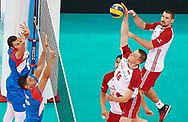 Poland, Warsaw - 2017 August 24: (R) Lukasz Wisniewski from Poland spikes against (left) Nemanja Petric from Serbia while match Poland versus Serbia during LOTTO EUROVOLLEY POLAND 2017 - European Championships in volleyball at Stadion PGE Narodowy on August 24, 2017 in Warsaw, Poland.<br /> <br /> Mandatory credit:<br /> Photo by © Adam Nurkiewicz<br /> <br /> Adam Nurkiewicz declares that he has no rights to the image of people at the photographs of his authorship.<br /> <br /> Picture also available in RAW (NEF) or TIFF format on special request.<br /> <br /> Any editorial, commercial or promotional use requires written permission from the author of image.