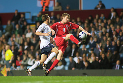 BIRMINGHAM, ENGLAND - Monday, October 13, 2008: Wales' Andy King and England's Mark Noble during the UEFA European Under-21 Championship Play-Off 2nd Leg match at Villa Park. (Photo by Gareth Davies/Propaganda)
