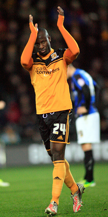 Picture by Richard Gould/Focus Images Ltd +44 7855 403186.03/11/2012.Sone Aluko of Hull City applaude the crowd during the npower Championship match at the KC Stadium, Kingston upon Hull.