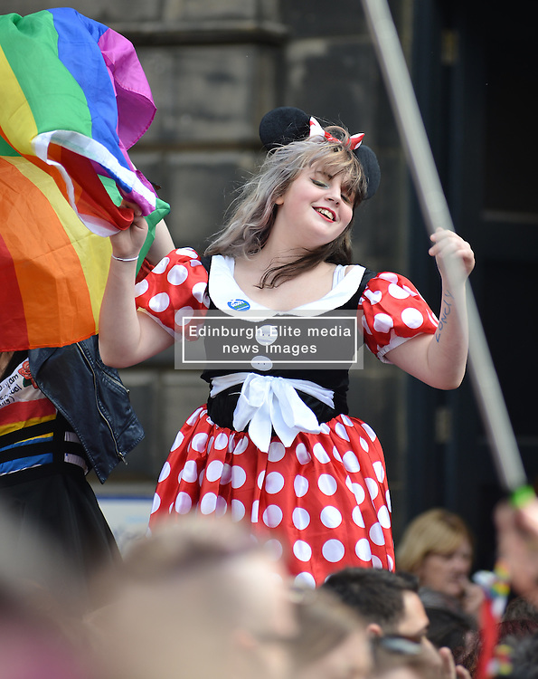 Marchers get into the spirit of Scotia Pride at the annual parade in Edinburgh.<br /> <br /> &copy; Dave Johnston/ EEm