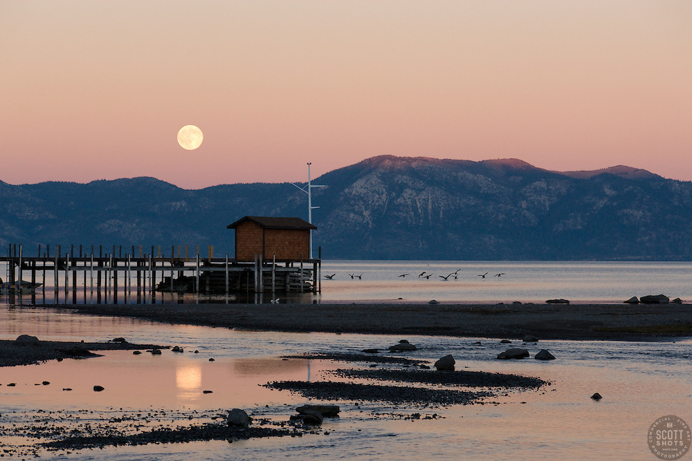 """""""Full Moon Over Lake Tahoe 1""""- This full moon was photographed near Commons Beach, Lake Tahoe."""