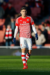 Gabriel Paulista of Arsenal looks on in the warm up - Photo mandatory by-line: Rogan Thomson/JMP - 07966 386802 - 15/02/2015 - SPORT - FOOTBALL - London, England - Emirates Stadium - Arsenal v Middlesbrough - FA Cup Fifth Round Proper.
