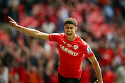 Barnsley forward, on loan from Manchester United, Ashley Fletcher (18) gets free to score and celebrates a goal  to make the score 1-0 during the Sky Bet League 1 play off final match between Barnsley and Millwall at Wembley Stadium, London, England on 29 May 2016. Photo by Simon Davies.