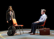 Future Conditional <br /> by Tamsin Oglesby<br /> directed by Matthew Warchus<br /> at The Old Vic Theatre, London, Great Britain, London, Great Britain<br /> 4th September 2015 <br /> <br /> Nikki Patel as Alia<br /> Rob Brydon as Crane<br /> <br /> <br /> <br /> Photograph by Elliott Franks <br /> Image licensed to Elliott Franks Photography Services
