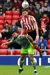 March 16, 2019 - Sunderland, Tyne and Wear, United Kingdom - Sunderland's Jack Baldwin contests for the ball with Walsall's Josh Gordon during the Sky Bet League 1 match between Sunderland and Walsall at the Stadium Of Light, Sunderland on Saturday 16th March 2019. (Credit: Steven Hadlow | MI News) (Credit Image: © Mi News/NurPhoto via ZUMA Press)