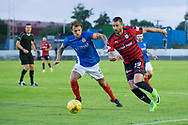 Dundee&rsquo;s Marcus Haber runs at Cowdenbeath's Scott rumsby - Cowdenbeath v Dundee in the Betfred Cup at Central Park, Cowdenbeath - Picture by David Young<br /> <br />  - &copy; David Young - www.davidyoungphoto.co.uk - email: davidyoungphoto@gmail.com