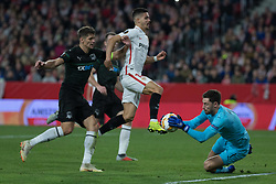 December 13, 2018 - Seville, Andalucia, Spain - Kritsyuk of Krasnodar stop the Andre Sivas's kick during the Europa League match between Sevilla FC and Krasnodar in Ramón Sánchez Pizjuán Stadium (Seville) (Credit Image: © Javier MontañO/Pacific Press via ZUMA Wire)