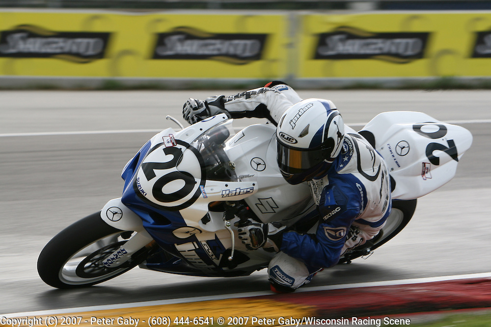 Racing action during the 2007 AMA Races held at Road America