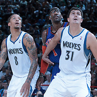 06 October 2010: New York Knicks forward Amare Stoudemire #1 fights for a rebound against Minnesota Timberwolves forward Michael Beasley #8 and Minnesota Timberwolves center Darko Milicic #31 during the Minnesota Timberwolves 106-100 victory over the New York Knicks, during 2010 NBA Europe Live, at the POPB Arena in Paris, France.