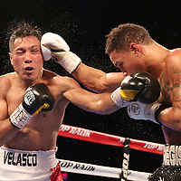 NEW ORLEANS, LA - JULY 14:  Regis Prograis (R) and Juan Jose Velasco exchange blows during their WBC Diamond Super Lightweight Title boxing match at the UNO Lakefront Arena on July 14, 2018 in New Orleans, Louisiana.  (Photo by Alex Menendez/Getty Images) *** Local Caption *** Regis Prograis; Juan Jose Velasco