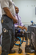 Miami-Dade police Major Ricky Carter, who lost both of his legs in a motorcycle accident last year on his way to a fundraiser event, returns to the Ryder Trauma Center at Jackson Memorial Hospital in Miami on Monday, May 7, 2018, to meet with the first responders, good samaritans and doctors that saved his life one year ago after his tragic accident. <br /> photo by Samuel Navarro / El Nuevo Herald