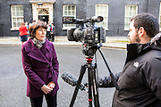 The family of WWII codebreaker Alan Turing deliver Change.org petition to Downing Street signed by almost half a million people <br /> calling for more than 49,000 British gay men convicted under historic anti-gay laws in the UK. <br /> <br /> Rachel Barnes (great niece),  during a tv news interview outside No.10 Downing Street. 23rd February 2015. <br /> Image credit must read:  © Andrew Aitchison / change.org