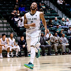Feb 24, 2016; New Orleans, LA, USA; Tulane Green Wave guard Louis Dabney (0) reacts after losing the ball out of bounds during the second half of a game against the East Carolina Pirates at the Devlin Fieldhouse. Mandatory Credit: Derick E. Hingle-USA TODAY Sports