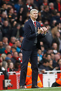Arsenal Manager Arsene Wenger shouts instructions to his players from the touchline. Premier league match, Arsenal v Swansea city at the Emirates Stadium in London on Saturday 28th October 2017.<br /> pic by Steffan Bowen, Andrew Orchard sports photography.